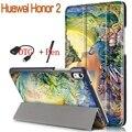 Nueva pintura colorida elegante de la pu cubierta de cuero para huawei honor 2 8.0 pulgadas caja de la tableta con el imán + otg gratis + stylus pen