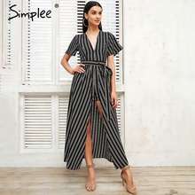 Simplee Pretty boho print striped jumpsuit V neck backless sexy women jumpsuit 2018 Waist tie summer beach playsuit
