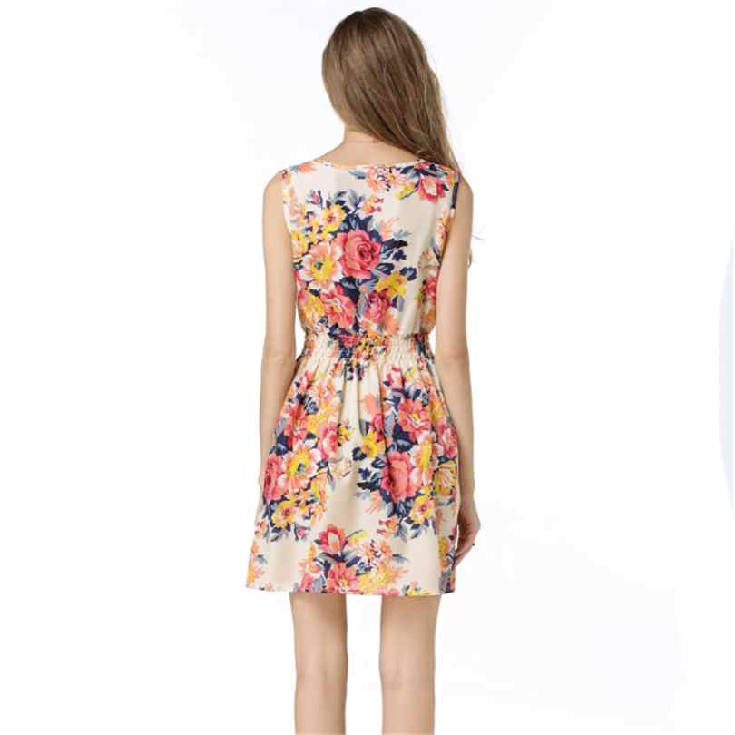 e25426c01cb3 ... CUHAKCI Woman Beach Dress Summer Boho Print Clothes Sleeveless Party  Dress Casual Short Sundress Plus Size ...