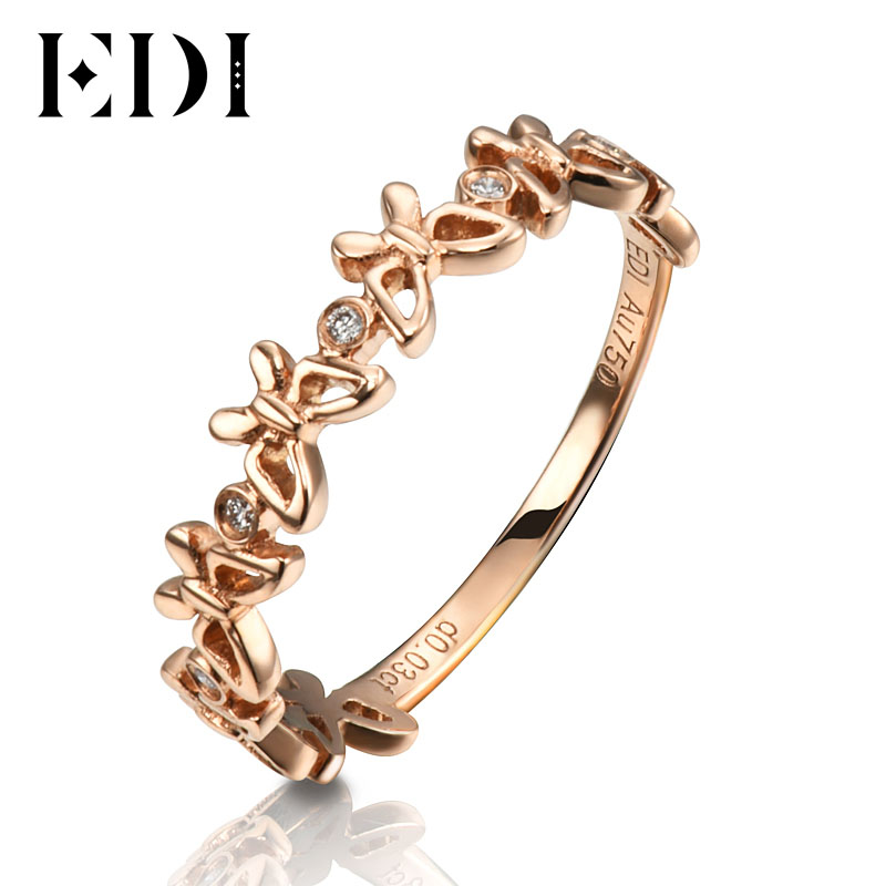 EDI Romantic 18K Rose Gold Bands Real 0 03cttw Natural Diamond H SI Butterfly Shape Wedding