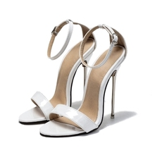 New Style Women Soild White Red Ankle Buckle Strap Hollow Out Sandals 13cm High Thin Metal Heel Dress Shoes Big Size