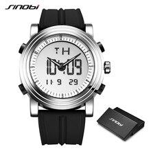 Sinobiメンズデジタル腕時計男クロノグラフは、防水ジュネーブクォーツスポーツ時計レロジオmasculino