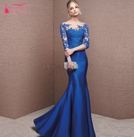 Sexy Blue Long Prom Dresses Half Sleeve Applique Mermaid Evening Dress New Lace Prom Gown