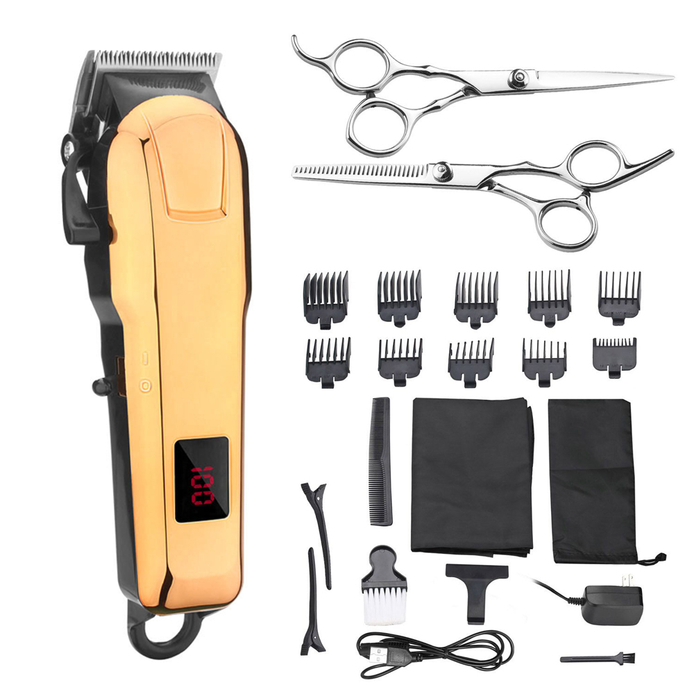KIKI 2018 волос clippper перезаряжаемые Professional резак триммер литиевая батарея NG-888 набор с ЖК дисплей