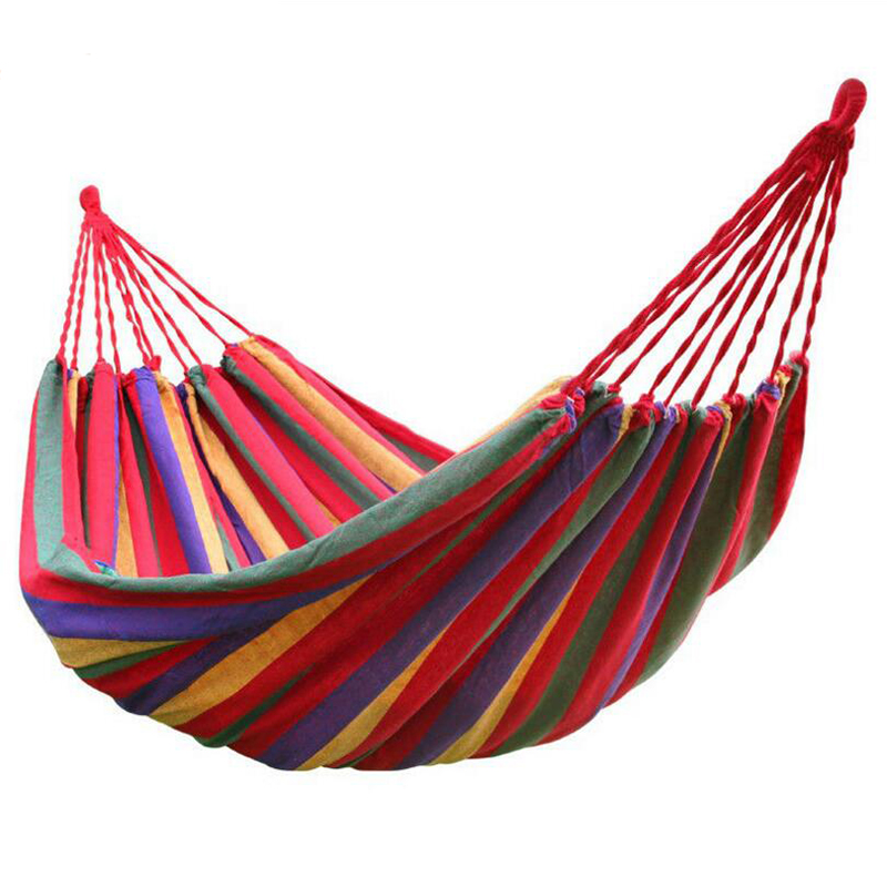 200x150 Portable Outdoor Hammock Garden Sports Home Travel Camping Swing Canvas Stripe Hang Bed Double Hammock цена