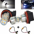 New H11 H8 Canbus 140W LED White 28-SMD Projector Fog Driving DRL Light Bulbs+Load Resistors For BMW E71 X6 M E70 X5 E83 F25 X3