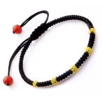 Solid 24K Yellow Gold Bracelet 5pcs 0.05g Beads Black Cord Lucky Bracelet