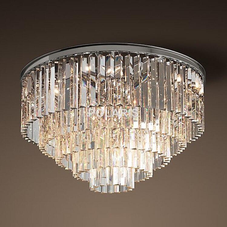 Envío Gratis Modern Vintage RH Araña de Cristal Montado Luz de Techo Al Ras para Home Hotel Decoración