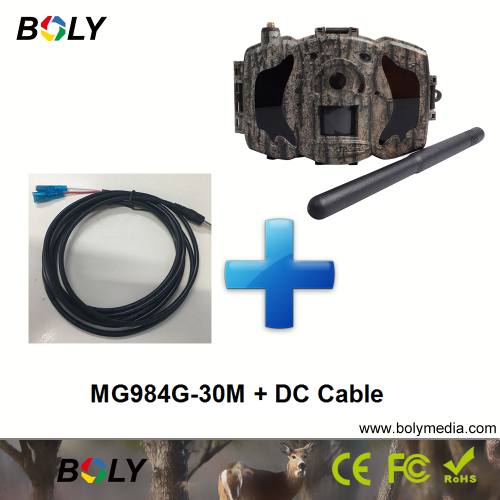 MG984G-30M avec DC câble MMS GPRS celluar foto trappola 4g 100 ft plage de détection sans fil de chasse caméras caméras noir IR 30MP
