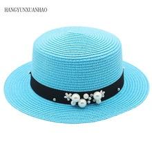 Parent-child Straw Sun Hat Cute Children Hats Women Pearl Cap Beach Big Brim Panama Casual Glris Summer