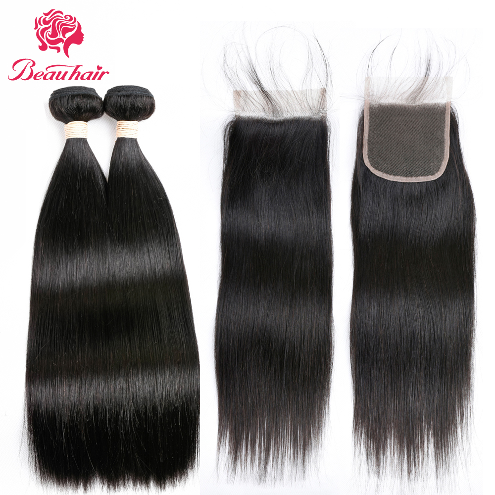 Beau Hair 2 Bundles With Lace Closure Brazilian Straight Human Hair Non Remy 100% Human  ...