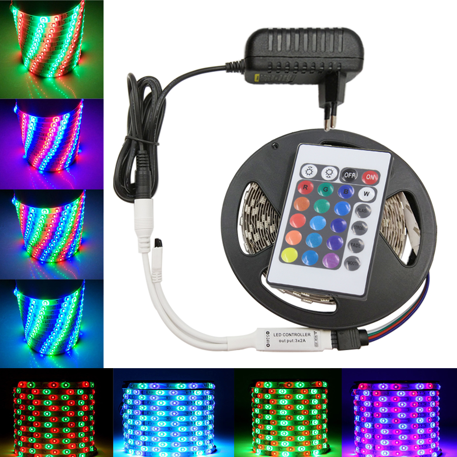 IPILY LED Strip light rgb 5m DC12V 3014 rgb diode led tape ribbon led tape with adapter and remote controller 10m 5m 3528 5050 rgb led strip light non waterproof led light 10m flexible rgb diode led tape set remote control power adapter