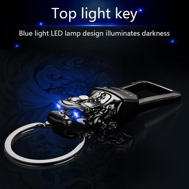 Original Keychain High End Gift Pi Xiu Shaped Key Chain Practical Retro Vehicle Mounted Key Pendant With LED Blue Light