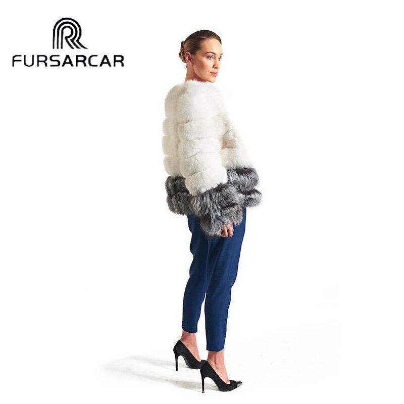 Nouveau Veste Véritable Manteau De Mode Hiver Style Fursarcar Courte Cuir Renard Avec Femmes Argent Réel Fourrure En nXqE6xwx87