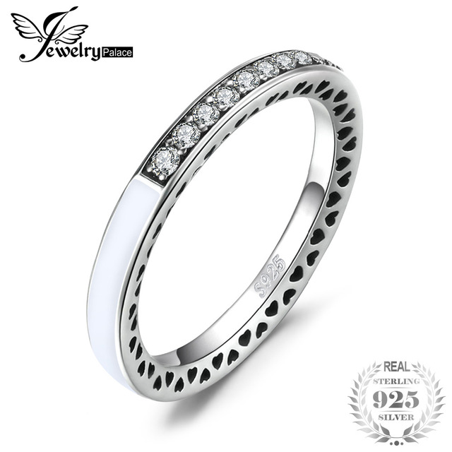 Jewelrypalace 925 Sterling Silver Rings Glitter Cubic Zirconia Channel Set Ring