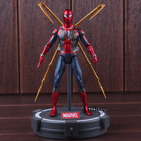Avengers Infinity War Toys Iron Spiderman with LED Light PVC Marvel Action Figures Collectible Model Toys for Boys 17cm