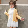 Children 's dress 2017 spring new girl hollow lace long - sleeved princess dress free shipping