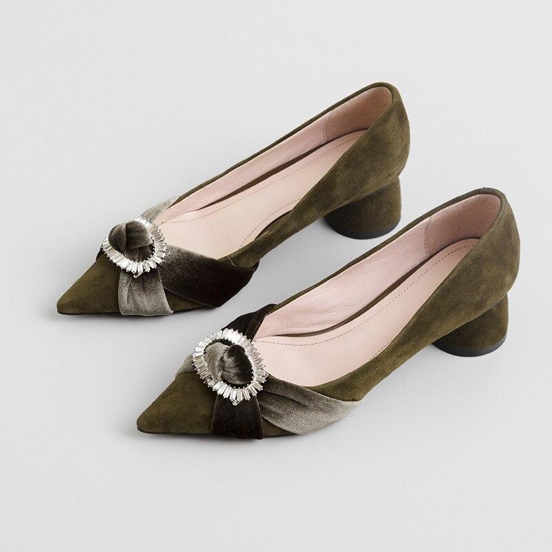 Imitación Black 43 Hebilla Calzado Tamaño 33 Alta Terciopelo Zapatos Diamante en Primavera Mujeres Cómodo Gran Slip green Calidad Estilo Mujer Las De Bombas qSgxt17wn