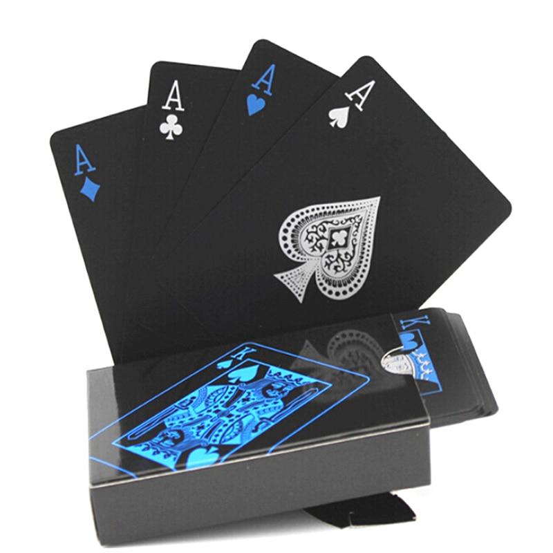 new 54pcs Waterproof PVC Pure Black Magic Box-packed Plastic Playing Cards Set Deck Poker Classic Magic Tricks Tool(China)