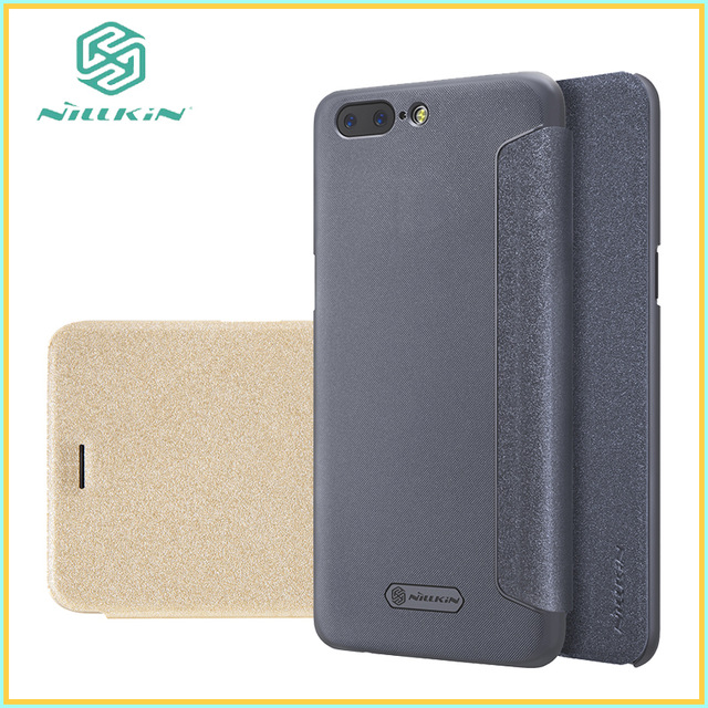 For OnePlus 5 A5000 5.5 cover Case NILLKIN Sparkle super thin flip cover PU leather case For OnePlus 5 A5000 phone case