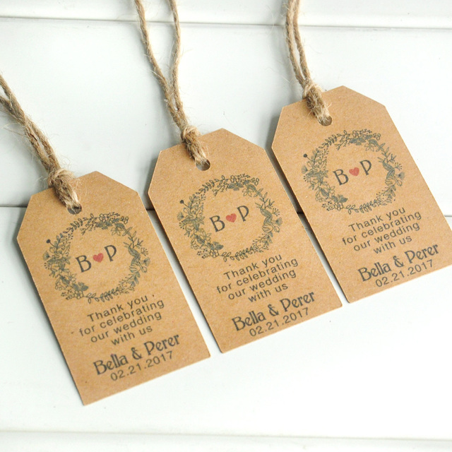 50 100pcs Custom Kraft Paper Personalized Wedding Tag Thank You