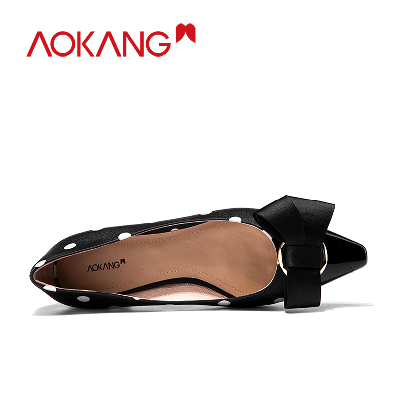 AOKANG women's flats loafers bownots dots shoes silkly ladies fashion spring summer bownot colors dress flats shoes footware - 5