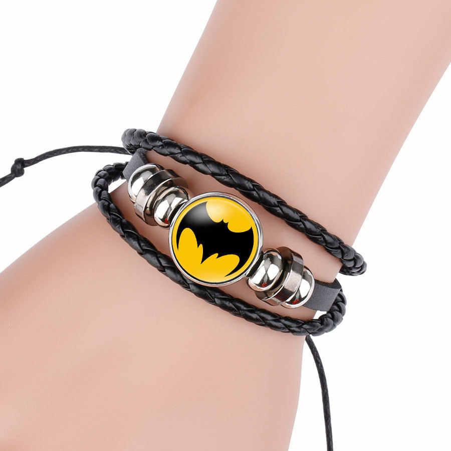 América Super hero es Batman Hombre-Araña de hierro hombre Superman Logo de cuero pulsera niños pulsera cabujón cristal