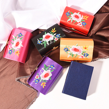 Get Quotations · Portable Travel Flower Print Gold Tone Embroidery Cosmetic  Pouch Bag Organizer