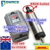 [EU Stock/Free VAT] 2.2KW Air Cooled ER20 Spindle Motor 220VDC 24000rpm 4 bearing & 2.2KW 220V Inverter VFD 2HP for CNC Router