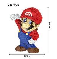 Funny Micro Diamond Building Block Nintendo Game Image Super Mario Nanoblock 2497pcs Bricks Assemble Toys Model Collection