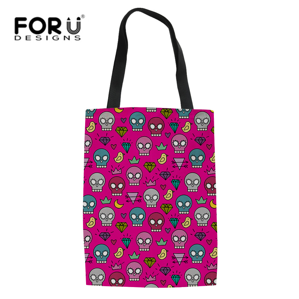 FORUDESIGNS Cute Skull Punk Canvas Tote Casual Beach Bags Large Capacity Women Shopping Bag Daily Handbags Bolsa Shoulder Bag