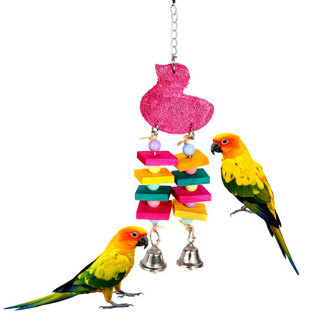 Natural Bird Toy Parrot Toys Bell Cockatoo Conure Chew Masticate Paw Loofah Sponge Bite-resistant New Home