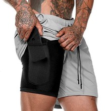 Men Summer Slim Shorts Gym Fitness Bodybuilding Running Male Short Pant Knee Length Breathable Mesh Sportswear недорого