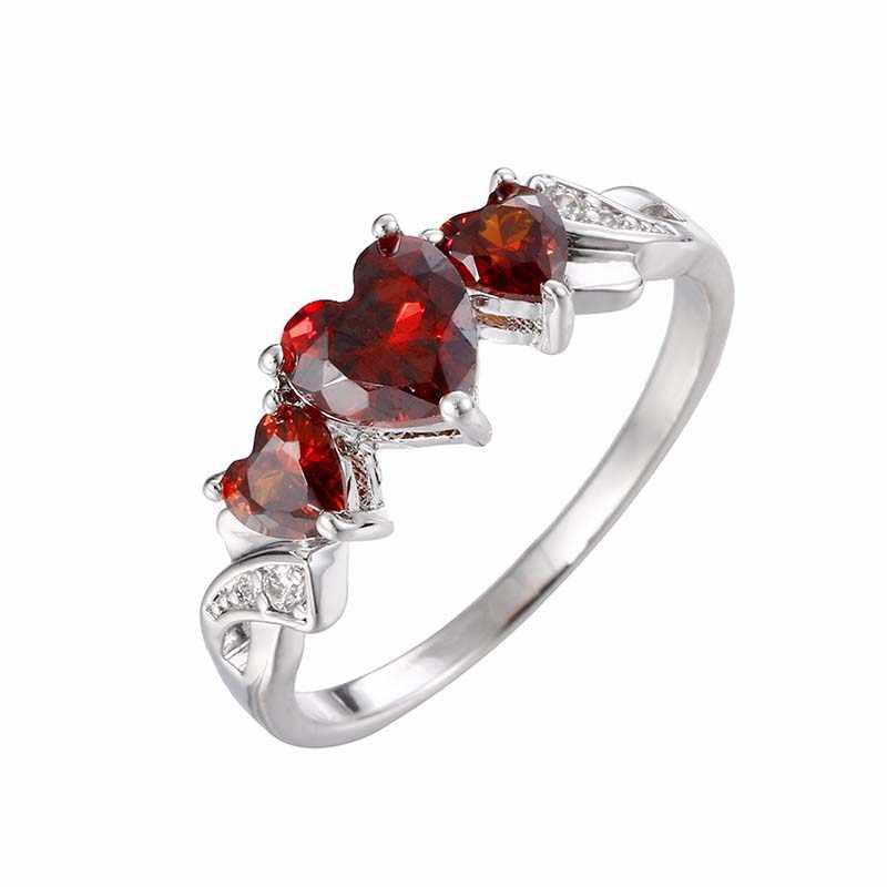 خمر بندقية الأسود القلب خواتم للنساء مجوهرات الزفاف الأحمر كريستال Anel عيد الحب هدية anils القوطية بوهو مجوهرات