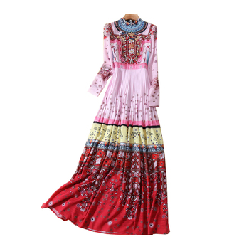 New high-end women's fashion elegance  cultivation printed long dress women's dress