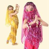 Orientalne Cygańska Indyjski Taniec Brzucha Kostium dla dzieci Coin Indian Bollywood Bellydance Belly Dancing Kostiumy 5 sztuk Zestawów