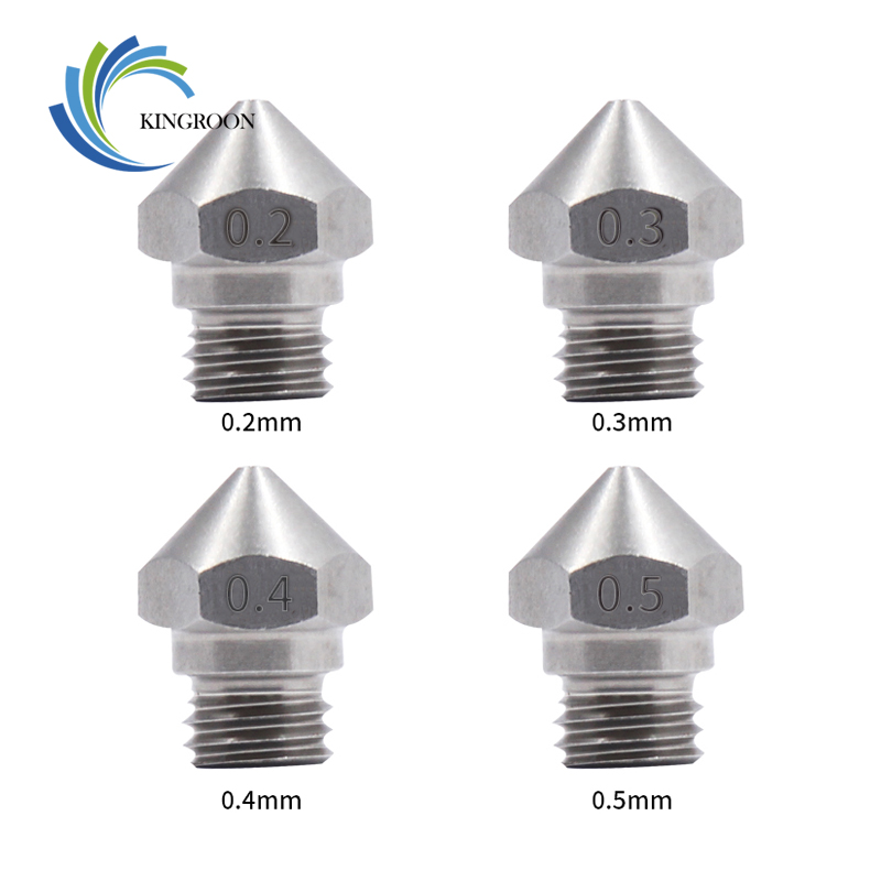 KINGROON 5Pcs MK10 Stainless Steel Nozzle For 3D Printer Parts 0.2/0.3/0.4/0.5/0.6/0.8/1.0mm 1.75mm Filament M7 Thread Nozzles 2