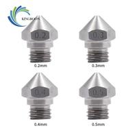 KINGROON 5 uds MK10 boquilla de acero inoxidable para 3D piezas de la impresora 0,2, 0,3, 0,4, 0,5, 0,6, 0,8, 1,0mm 1,75mm filamento M7 hilo boquillas