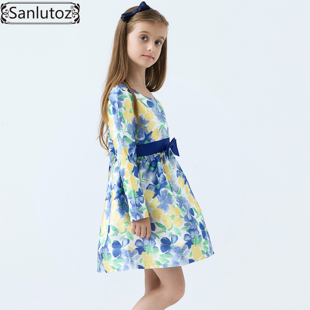 Sanlutoz Denim Summer Kids Clothing Cotton Cat Girls Dresses Lovely ...