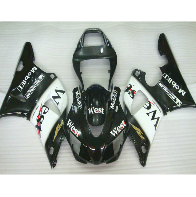 ABS plastic motorcycle injection racing fairings kits for YAMAHA YZF R1 1998 1999 YZFR1 98 99 black west ABS fairing body parts