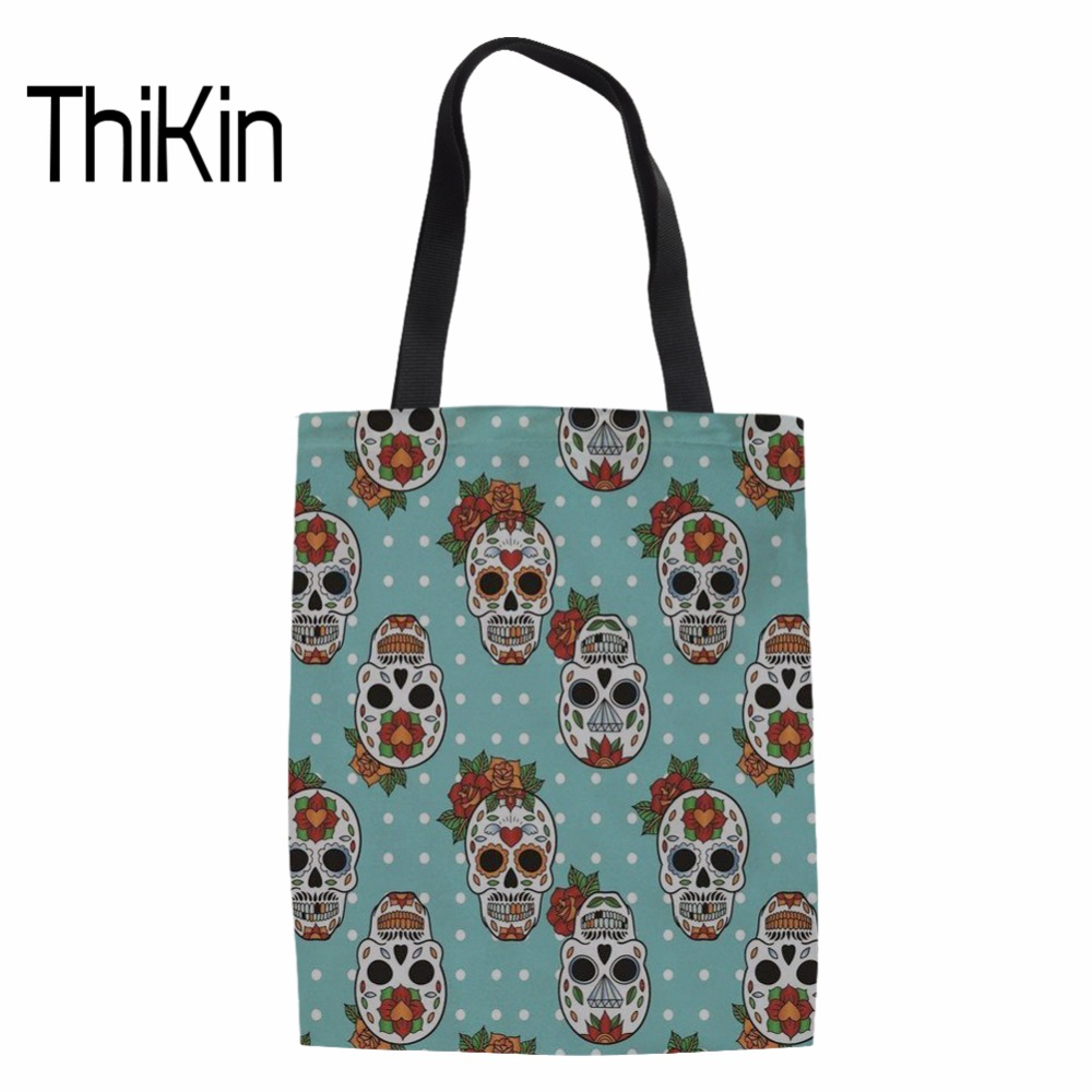 THIKIN Funny Design Skull Print Shopping Tote Bags Women Fashion Shoulder Bag Ladies Reusable Eco Bag for Females Daliy Package ...