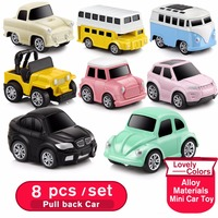 8pcs Set Diecast Alloy Model Pull Back Small Car Toys For Kids Mini Metal Toy Car