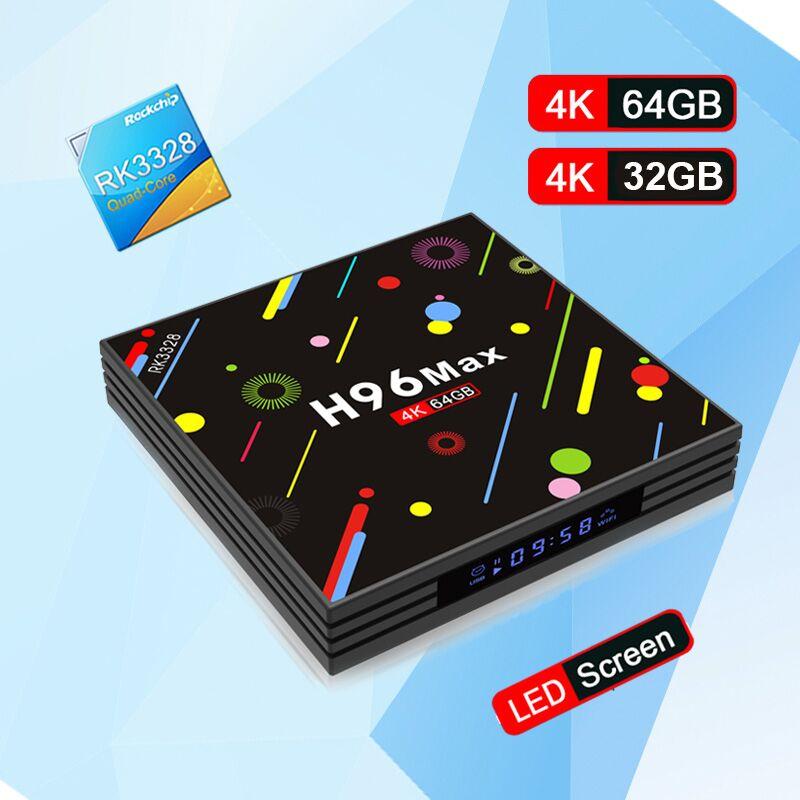 H96 Max h2 Android 7.1 TV Box RK3328 Quad Core 4 K 4 GB 64 GO boîtier de smart TV VP9 HDR10 USB3.0 wiFi BT 4.0 lecteur multimédia PK X92