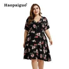 Plus Size XL-3XL Print Chiffon Dress Spring Summer 2019 Elegant Black Clothing for Fat Femal Big Evening Party