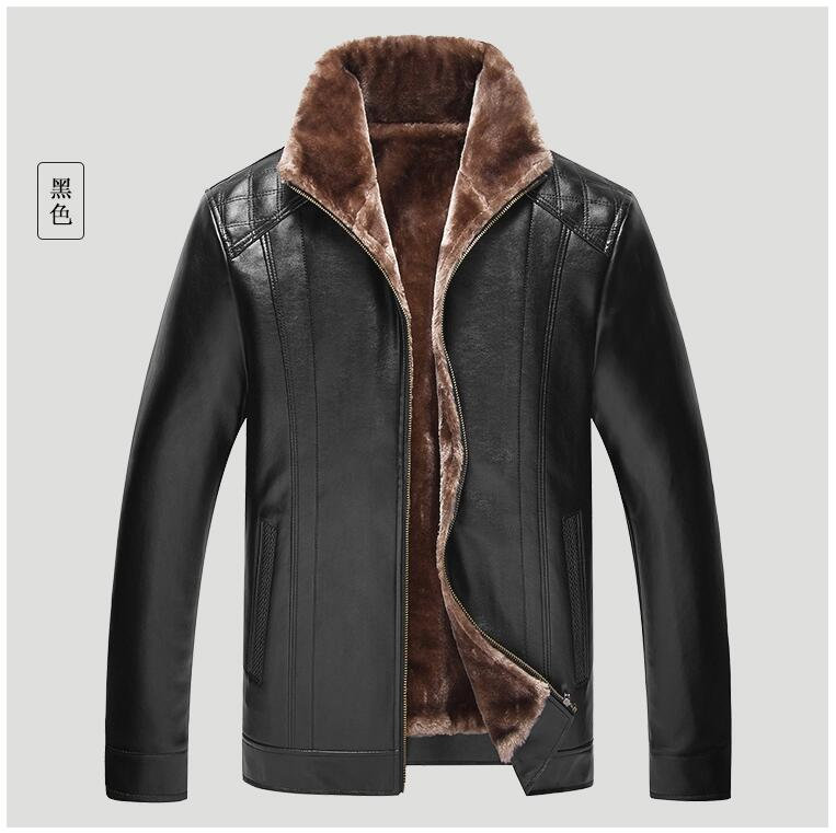 Hot Sale 4XL men brand clothing Winter Thick Leather Garment Casual flocking Leather Jacket Mens Clothing Leather Jacket Men