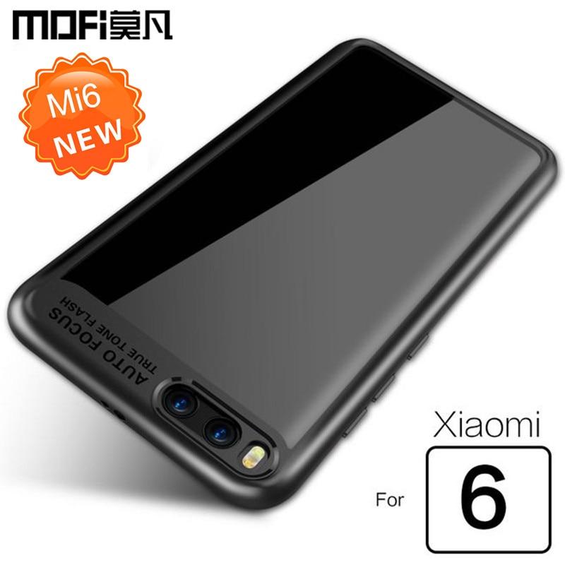 xiaomi mi6 مورد xiaomi 6 مورد پوشش شفاف کامپیوتر سیلیکون پشت + موارد TPU MOFi اصلی xiaomi mi 6 مورد لوازم جانبی آبی