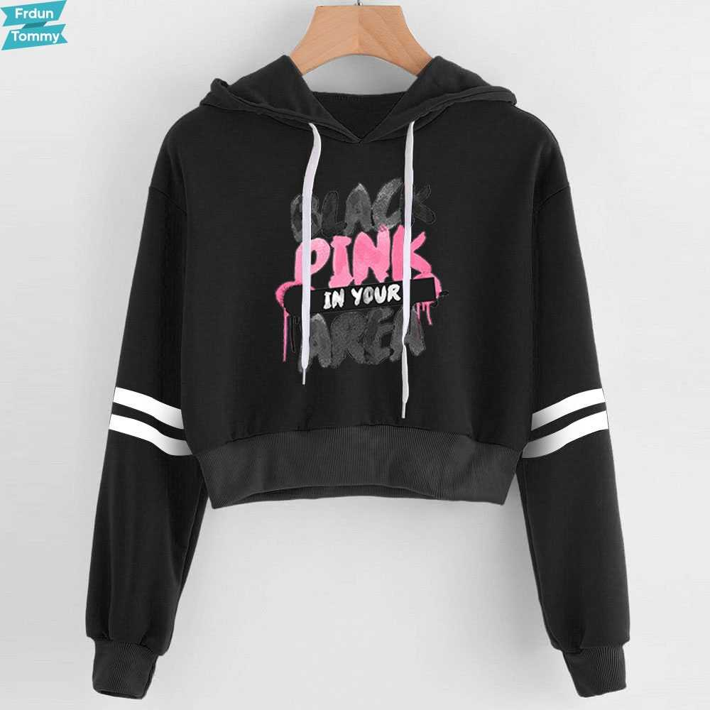 601aa62f 2019 New Blackpink Women sexy Lovely crop top hoodies Serpent Print  harajuku hot sale casual hoodies