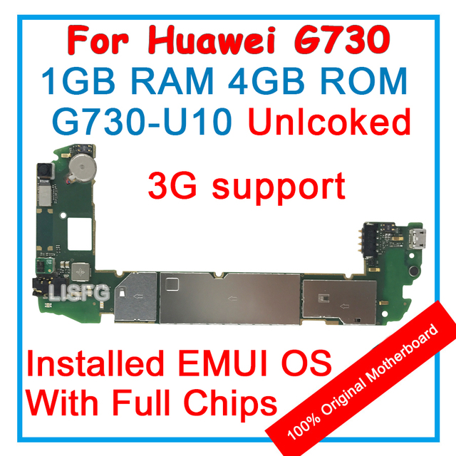 1gb ram 4gb rom for huawei g730 u10 3g support motherboard 100% unlocked  original mainboard emui logic board with full chips