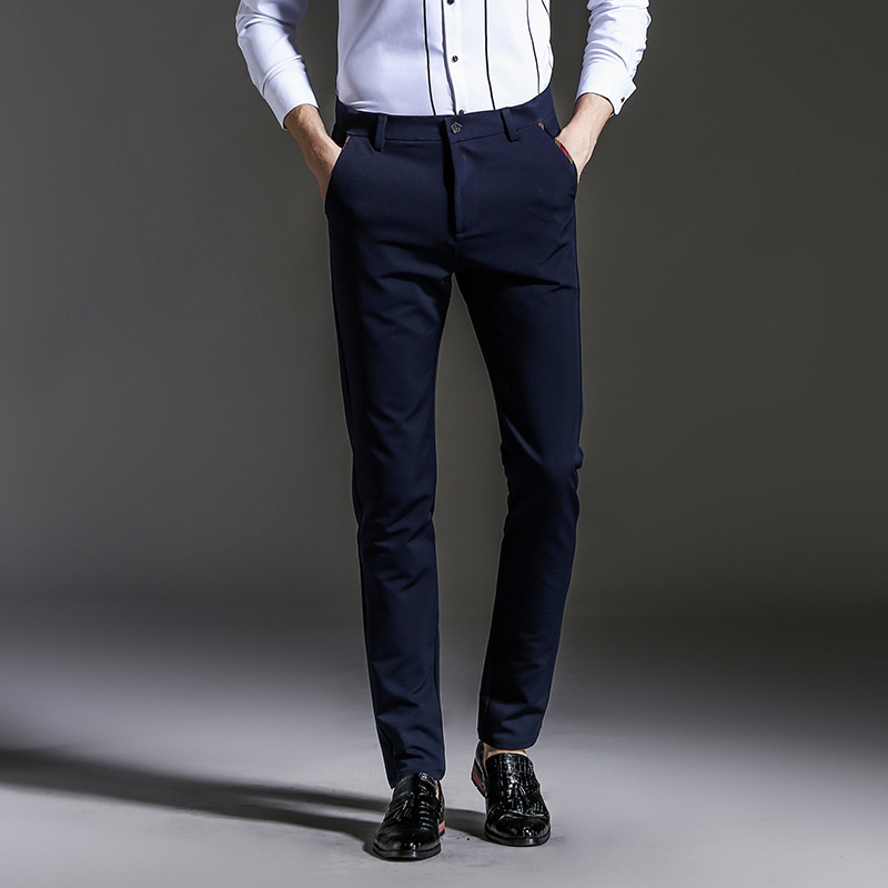 Left ROM 2019 New Men's Fashion Boutique Pure Color Slim Leisure Business Suit Pants / Male Black Blue Casual Pants Trousers