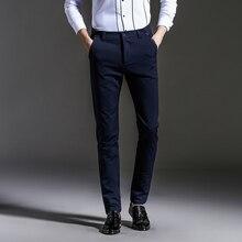 The new 2016 mens fashion boutique pure color slim leisure business suit pants / Male black blue casual Men trousers